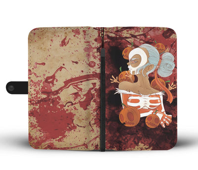 bloody halloween girl wallet phone case wallet case wc fulfillment skullzophrenia