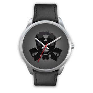 Dark Revenant Silver Skull Watch-Silver Watch-wc-fulfillment-Mens 40mm-Black Leather-SKULLZOPHRENIA