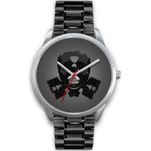 Load image into Gallery viewer, Dark Revenant Silver Skull Watch-Silver Watch-wc-fulfillment-Mens 40mm-Black Metal Link-SKULLZOPHRENIA