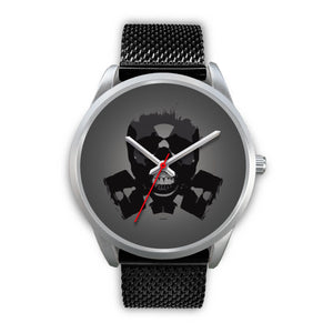 Dark Revenant Silver Skull Watch-Silver Watch-wc-fulfillment-Mens 40mm-Black Metal Mesh-SKULLZOPHRENIA