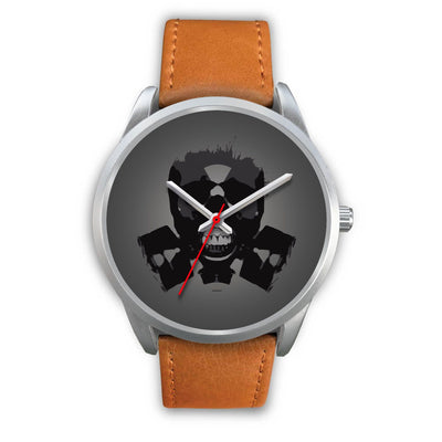 Dark Revenant Silver Skull Watch-Silver Watch-wc-fulfillment-Mens 40mm-Brown Leather-SKULLZOPHRENIA