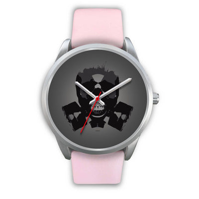 Dark Revenant Silver Skull Watch-Silver Watch-wc-fulfillment-Mens 40mm-Pink Leather-SKULLZOPHRENIA