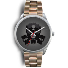 Load image into Gallery viewer, Dark Revenant Silver Skull Watch-Silver Watch-wc-fulfillment-Mens 40mm-Rose Gold Metal Link-SKULLZOPHRENIA