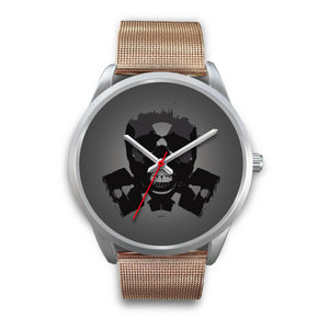 Dark Revenant Silver Skull Watch-Silver Watch-wc-fulfillment-Mens 40mm-Rose Gold Metal Mesh-SKULLZOPHRENIA