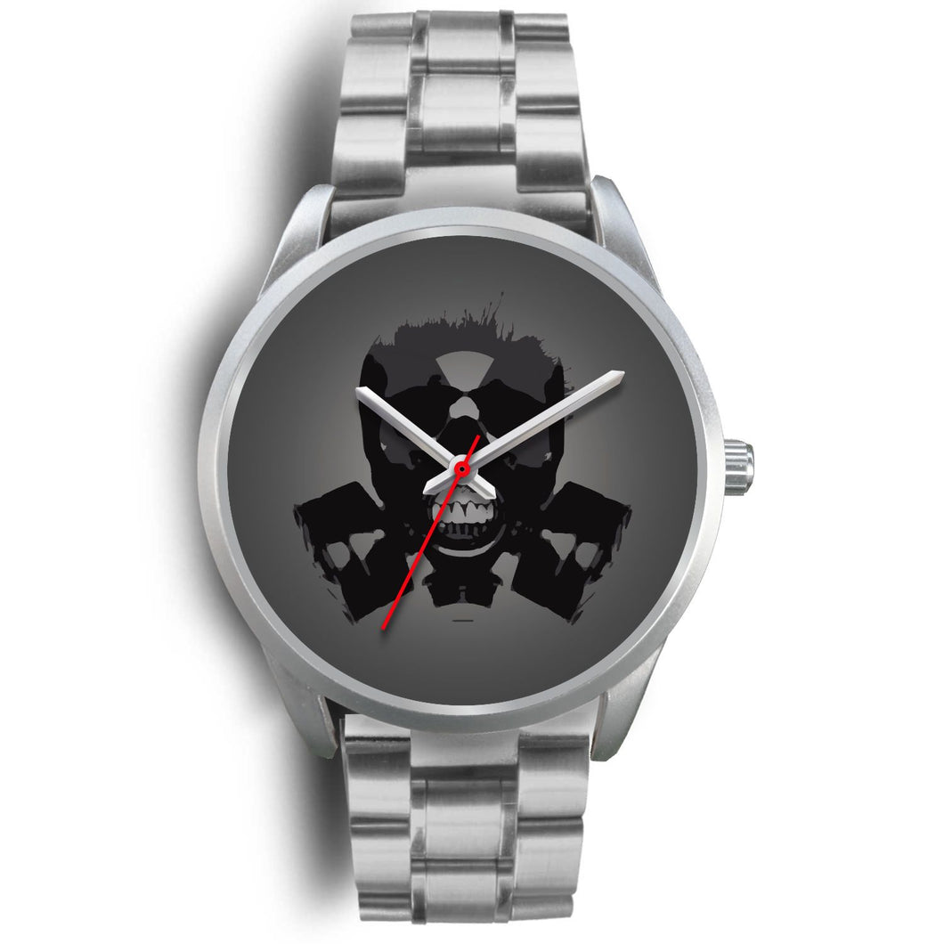 Dark Revenant Silver Skull Watch-Silver Watch-wc-fulfillment-Mens 40mm-Silver Metal Link-SKULLZOPHRENIA