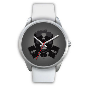 Dark Revenant Silver Skull Watch-Silver Watch-wc-fulfillment-Mens 40mm-White Leather-SKULLZOPHRENIA