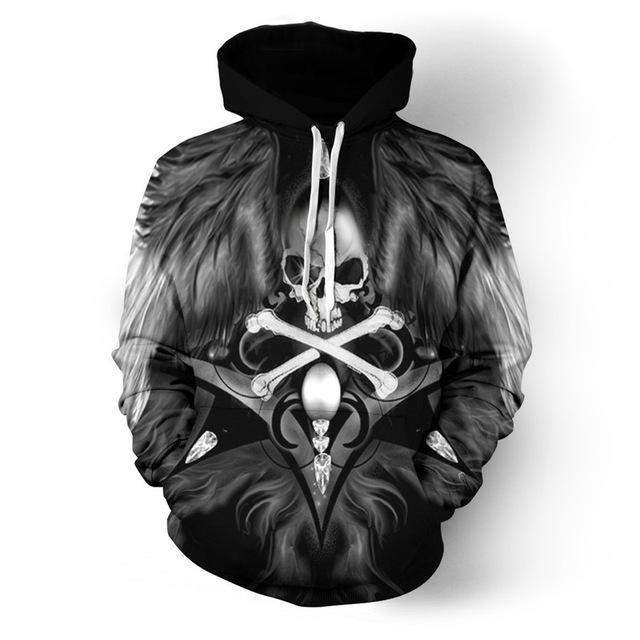 Dark Wings - Skull Hoodie-Hoodie-SKULLZOPHRENIA-hoodies men-4XL-SKULLZOPHRENIA