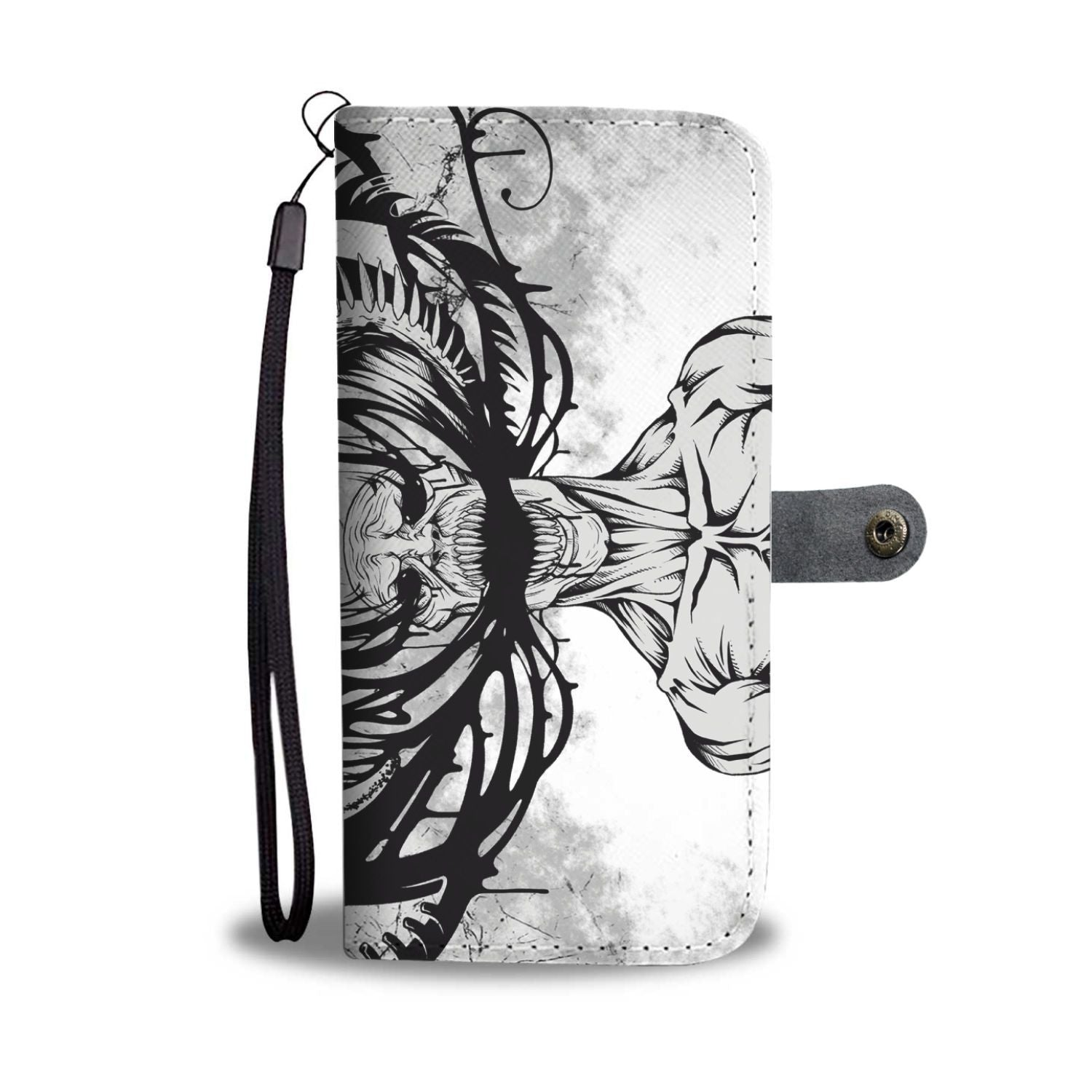 Downbeat Skull Wallet Phone Case-Wallet Case-wc-fulfillment-SKULLZOPHRENIA