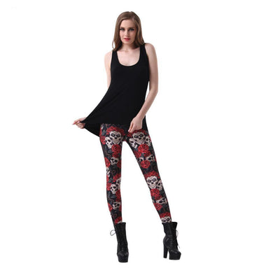 Flower Crown - Skull Leggings-leggings-SKULLZOPHRENIA-SKULLZOPHRENIA