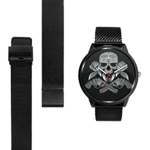 Load image into Gallery viewer, Guns Skull & Roses Watch-Watch-wc-fulfillment-Mens 40mm-Metal Mesh-SKULLZOPHRENIA