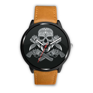 Guns Skull & Roses Watch-Watch-wc-fulfillment-Mens 40mm-Brown-SKULLZOPHRENIA