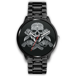 Guns Skull & Roses Watch-Watch-wc-fulfillment-Mens 40mm-Metal Link-SKULLZOPHRENIA