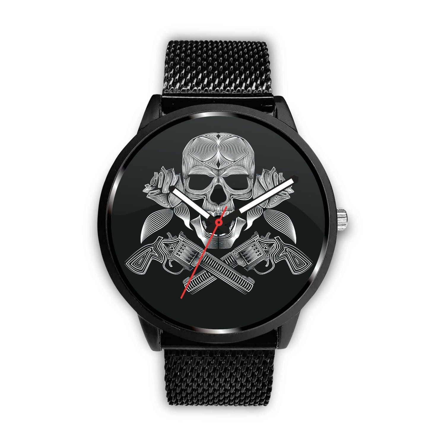 Guns Skull & Roses Watch-Watch-wc-fulfillment-Mens 40mm-Metal Mesh-SKULLZOPHRENIA