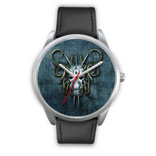 Load image into Gallery viewer, Hybrid Goat Skull Watch-Silver Watch-wc-fulfillment-Mens 40mm-Black Leather-SKULLZOPHRENIA