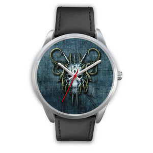 Hybrid Goat Skull Watch-Silver Watch-wc-fulfillment-Mens 40mm-Black Leather-SKULLZOPHRENIA