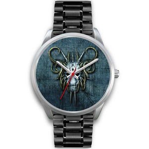 Hybrid Goat Skull Watch-Silver Watch-wc-fulfillment-Mens 40mm-Black Metal Link-SKULLZOPHRENIA