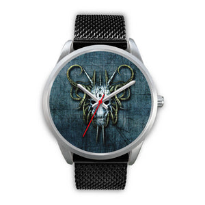 Hybrid Goat Skull Watch-Silver Watch-wc-fulfillment-Mens 40mm-Black Metal Mesh-SKULLZOPHRENIA