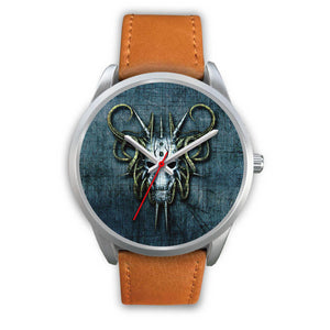 Hybrid Goat Skull Watch-Silver Watch-wc-fulfillment-Mens 40mm-Brown Leather-SKULLZOPHRENIA