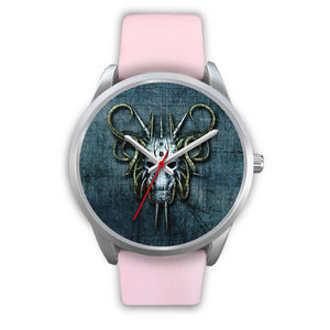 Hybrid Goat Skull Watch-Silver Watch-wc-fulfillment-Mens 40mm-Pink Leather-SKULLZOPHRENIA