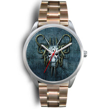 Load image into Gallery viewer, Hybrid Goat Skull Watch-Silver Watch-wc-fulfillment-Mens 40mm-Rose Gold Metal Link-SKULLZOPHRENIA