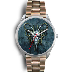 Hybrid Goat Skull Watch-Silver Watch-wc-fulfillment-Mens 40mm-Rose Gold Metal Link-SKULLZOPHRENIA