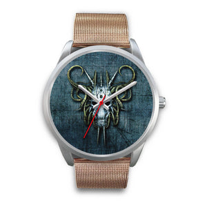 Hybrid Goat Skull Watch-Silver Watch-wc-fulfillment-Mens 40mm-Rose Gold Metal Mesh-SKULLZOPHRENIA