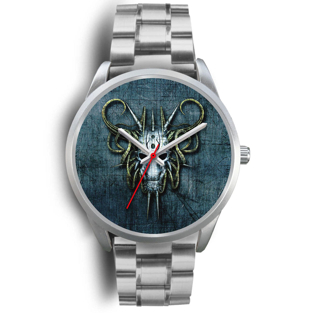 Hybrid Goat Skull Watch-Silver Watch-wc-fulfillment-Mens 40mm-Silver Metal Link-SKULLZOPHRENIA