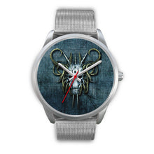 Load image into Gallery viewer, Hybrid Goat Skull Watch-Silver Watch-wc-fulfillment-Mens 40mm-Silver Metal Mesh-SKULLZOPHRENIA