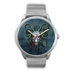 Hybrid Goat Skull Watch-Silver Watch-wc-fulfillment-Mens 40mm-Silver Metal Mesh-SKULLZOPHRENIA
