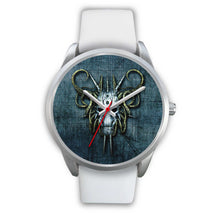 Load image into Gallery viewer, Hybrid Goat Skull Watch-Silver Watch-wc-fulfillment-Mens 40mm-White Leather-SKULLZOPHRENIA