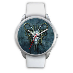 Hybrid Goat Skull Watch-Silver Watch-wc-fulfillment-Mens 40mm-White Leather-SKULLZOPHRENIA