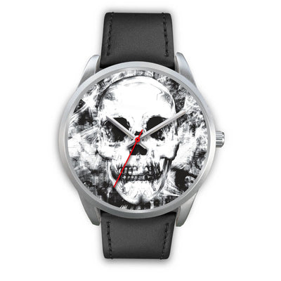 Insomia Silver Skull Watch-Silver Watch-wc-fulfillment-Mens 40mm-Black Leather-SKULLZOPHRENIA