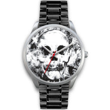 Load image into Gallery viewer, Insomia Silver Skull Watch-Silver Watch-wc-fulfillment-Mens 40mm-Black Metal Link-SKULLZOPHRENIA