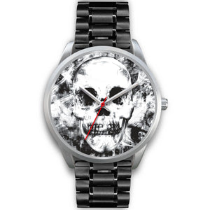 Insomia Silver Skull Watch-Silver Watch-wc-fulfillment-Mens 40mm-Black Metal Link-SKULLZOPHRENIA