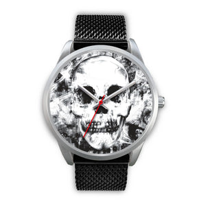Insomia Silver Skull Watch-Silver Watch-wc-fulfillment-Mens 40mm-Black Metal Mesh-SKULLZOPHRENIA
