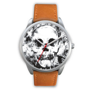 Insomia Silver Skull Watch-Silver Watch-wc-fulfillment-Mens 40mm-Brown Leather-SKULLZOPHRENIA