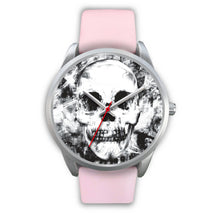 Load image into Gallery viewer, Insomia Silver Skull Watch-Silver Watch-wc-fulfillment-Mens 40mm-Pink Leather-SKULLZOPHRENIA