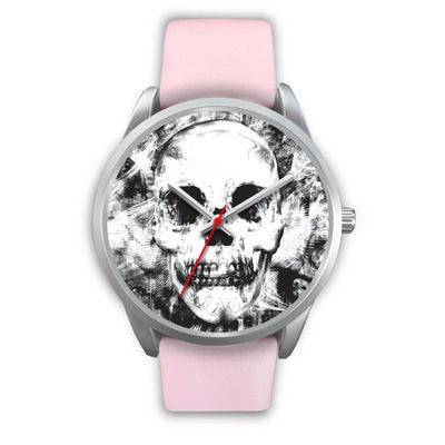 Insomia Silver Skull Watch-Silver Watch-wc-fulfillment-Mens 40mm-Pink Leather-SKULLZOPHRENIA
