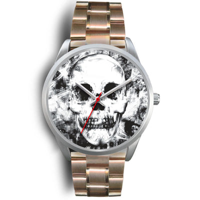 Insomia Silver Skull Watch-Silver Watch-wc-fulfillment-Mens 40mm-Rose Gold Metal Link-SKULLZOPHRENIA