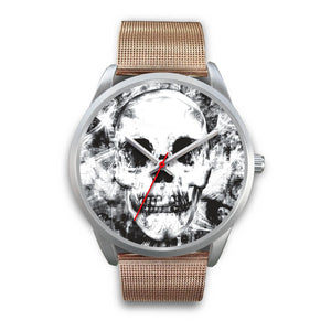 Insomia Silver Skull Watch-Silver Watch-wc-fulfillment-Mens 40mm-Rose Gold Metal Mesh-SKULLZOPHRENIA