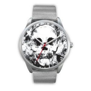 Insomia Silver Skull Watch-Silver Watch-wc-fulfillment-Mens 40mm-Silver Metal Mesh-SKULLZOPHRENIA
