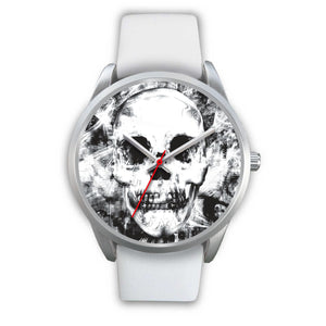 Insomia Silver Skull Watch-Silver Watch-wc-fulfillment-Mens 40mm-White Leather-SKULLZOPHRENIA