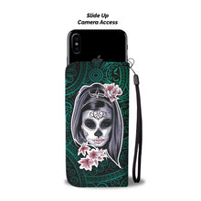 Load image into Gallery viewer, La Catrina Wallet Phone Case (Green)-Wallet Case-wc-fulfillment-SKULLZOPHRENIA