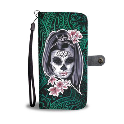 La Catrina Wallet Phone Case (Green)-Wallet Case-wc-fulfillment-SKULLZOPHRENIA