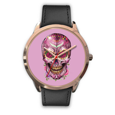 Mayle Rose Gold Skull Watch-Rose Gold Watch-wc-fulfillment-Mens 40mm-Black Leather-SKULLZOPHRENIA
