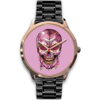 Mayle Rose Gold Skull Watch-Rose Gold Watch-wc-fulfillment-Mens 40mm-Black Metal Link-SKULLZOPHRENIA