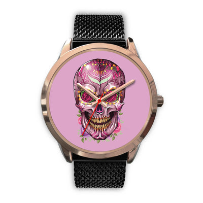 Mayle Rose Gold Skull Watch-Rose Gold Watch-wc-fulfillment-Mens 40mm-Black Metal Mesh-SKULLZOPHRENIA