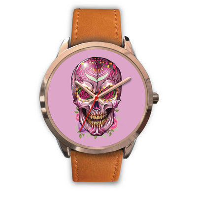 Mayle Rose Gold Skull Watch-Rose Gold Watch-wc-fulfillment-Mens 40mm-Brown Leather-SKULLZOPHRENIA