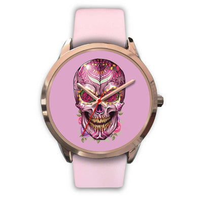 Mayle Rose Gold Skull Watch-Rose Gold Watch-wc-fulfillment-Mens 40mm-Pink Leather-SKULLZOPHRENIA