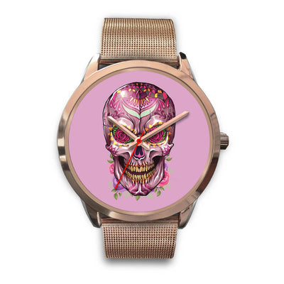 Mayle Rose Gold Skull Watch-Rose Gold Watch-wc-fulfillment-Mens 40mm-Rose Gold Metal Mesh-SKULLZOPHRENIA